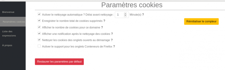capture d'écran de la configuration de Cookie Autodelete